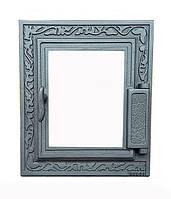 Дверки чугунные Halmat DPK14 355X325 со стеклом. Дверцы для печи и барбекю