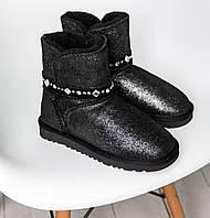 Австралийские угги Ugg Australia Mini Bailey Braid Bow Swarovski Crystal Black. Фото в живую. Реплика, фото 1