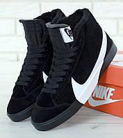 Зимние кроссовки Nike Blazer Winter Black с мехом. Фото в живую. Топ реплика, фото 1