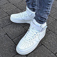 "Зимние мужские кроссовки Nike Air Force 1 High ""White"" с мехом (Реплика ААА+), фото 1"