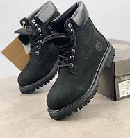 Зимние женские ботинки Timberland classic 6 inch black с натуральным мехом. Топ реплика, фото 1