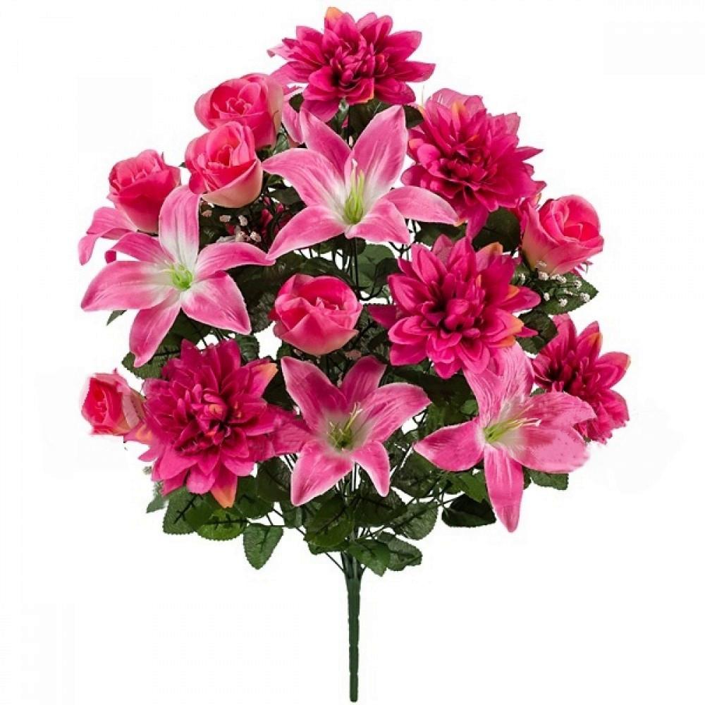 Букет лилии с бутонами роз и хризантемами, 67см (635)