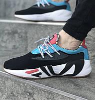 Мужские кроссовки FILA x HungryEyes Mindbreaker Black/Blue/Red . Живое фото (Реплика ААА+), фото 1