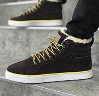 Зимние мужские кроссовки Adidas Ransom Fur Brown. Живое фото (Реплика ААА+), фото 1
