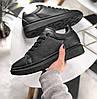 Женские кроссовки Adidas Alexander McQueen Sneaker Triple black. Живое фото (Реплика ААА+)