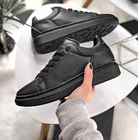 Женские кроссовки Adidas Alexander McQueen Sneaker Triple black. Живое фото (Реплика ААА+), фото 1