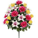 Букет лилии с бутонами роз и хризантемами, 67см (635), фото 2