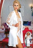 Атласная ночная сорочка и халат с длинным рукавом Jasmin 1785 турецкого  производства 5ae8ec9617eca