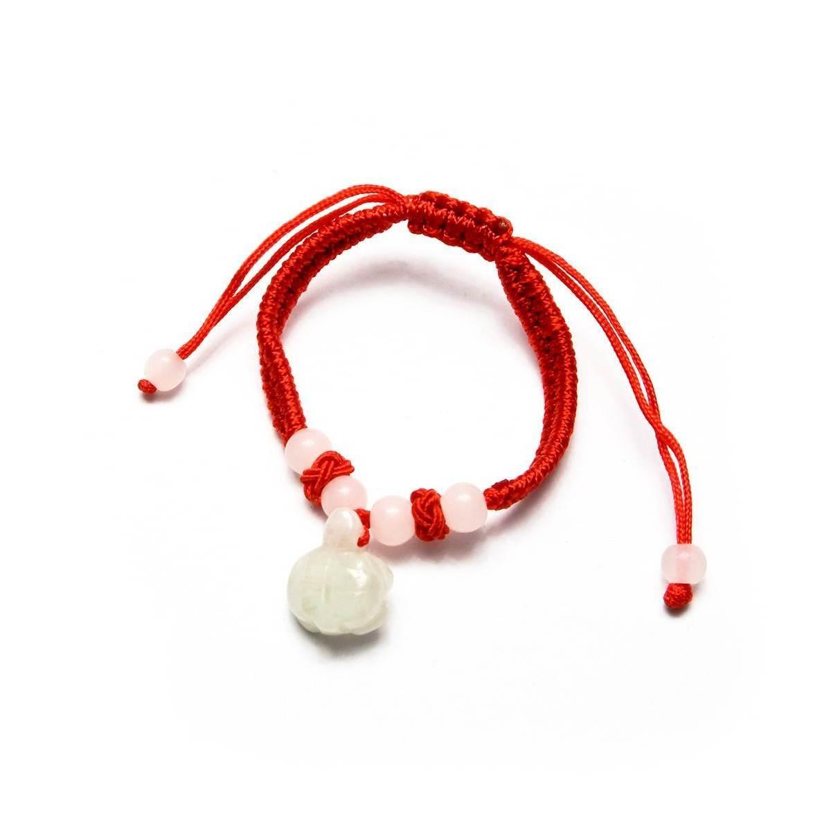 Красный браслет с нефритом Черепашка