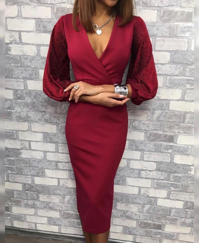 """Облегающее миди-платье """"VIOLA"""" с широкими бархатными рукавами (2 цвета)"""