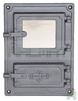 Дверки чугунные Halmat DPK8 375X275 со стеклом. Дверцы для печи и барбекю