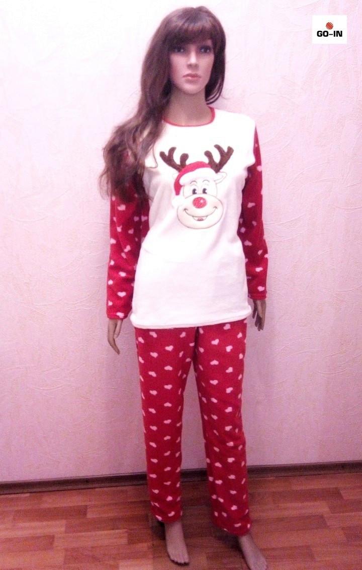 Пижам женская махровая теплая красная 42-54 р. - Интернет-магазин