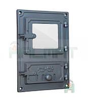 Дверки чугунные Halmat DPK8R 375X275 со стеклом. Дверцы для печи и барбекю, фото 1
