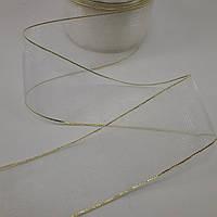 Лента органза 4 см белая с золотом