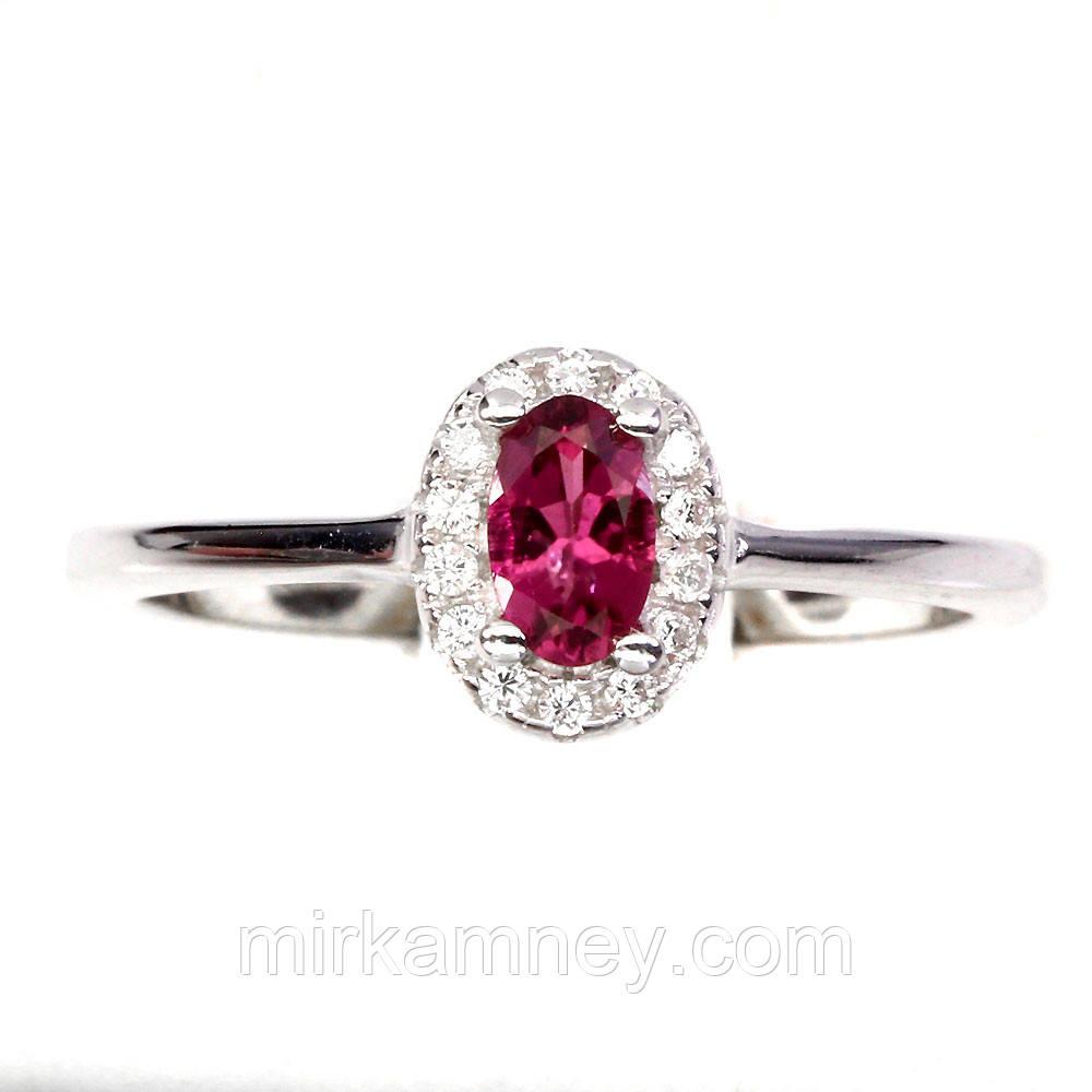 Кольцо с натуральным розовым турмалином размер 17