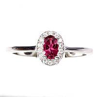 Кольцо с натуральным розовым турмалином размер 17, фото 1