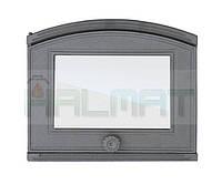 Дверки чугунные Halmat DP-1 - 315Х370 со стеклом. Дверцы для печи и барбекю