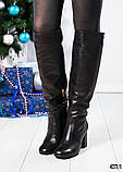 Зимние сапоги с красивой шнуровкой на устойчивом каблуке, фото 2