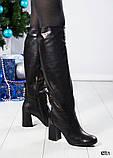 Зимние сапоги с красивой шнуровкой на устойчивом каблуке, фото 3