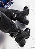 Зимние сапоги с красивой шнуровкой на устойчивом каблуке, фото 4