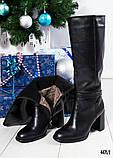 Зимние сапоги с красивой шнуровкой на устойчивом каблуке, фото 7