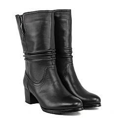 Полусапоги женские Velly (кожаные, модные, на каблуке, классический дизайн)