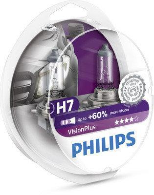 Лампа автомобильная Н7 12V55W PHILIPS VISION PLUS +60% комплект