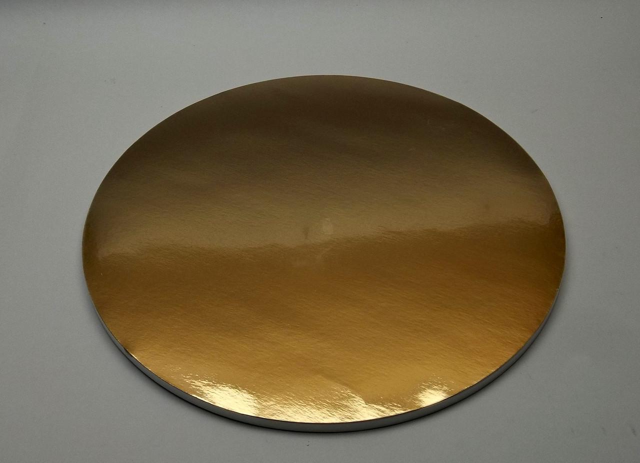 Подложка для торта d 30 см h 0,7 см золотая