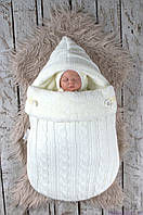 """Зимний вязаный набор для новорожденного """"Твикс"""" на махре, молочного цвета, фото 1"""