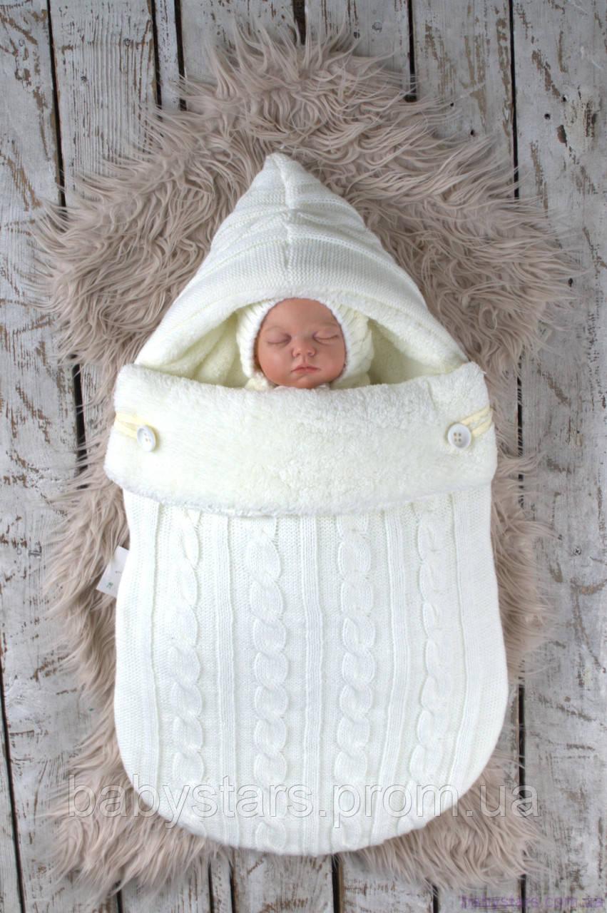 """Зимний вязаный набор для новорожденного """"Твикс"""" на махре, молочного цвета"""