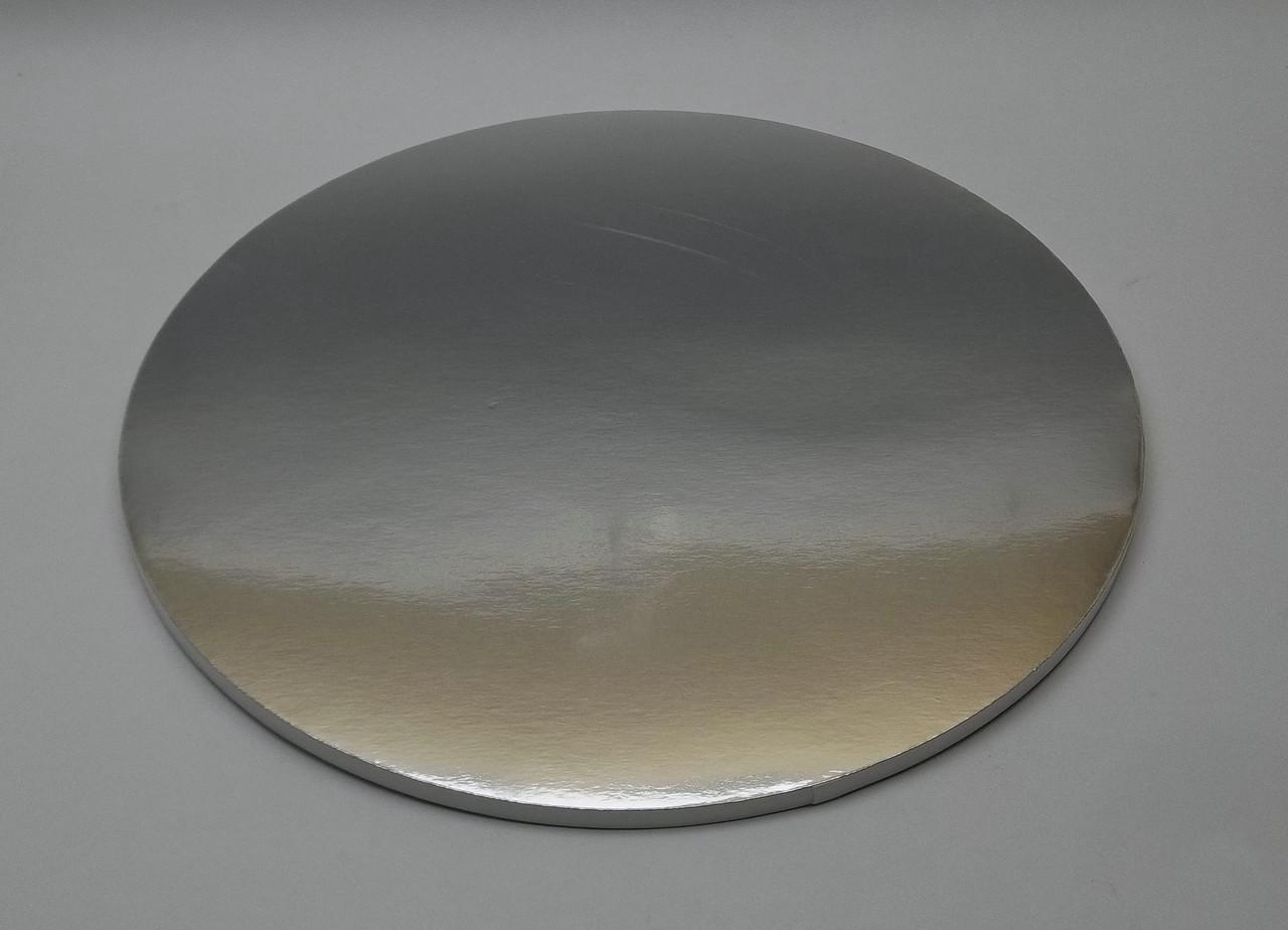 Подложка для торта d 30 см h 0,7 см серебряная