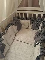 Комплект постельного белья для детской кроватки сатин хлопковый