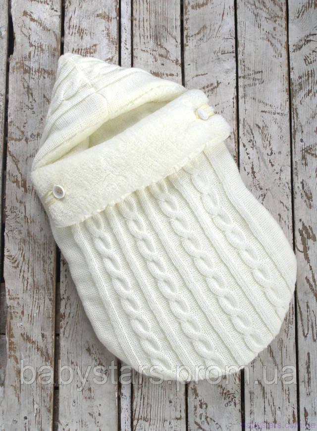 Зимний конверт-кокон для новорожденного на выписку на махре