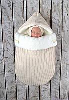 """Зимний вязаный набор для новорожденного """"Твикс"""" на махре, бежевого цвета, фото 1"""