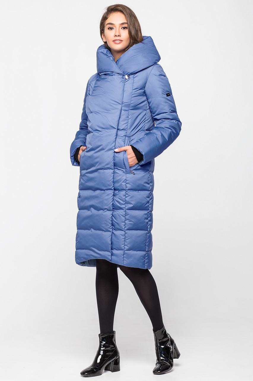 Модная теплая зимняя женская курточка KTL-223 - темно-голубая (#595)