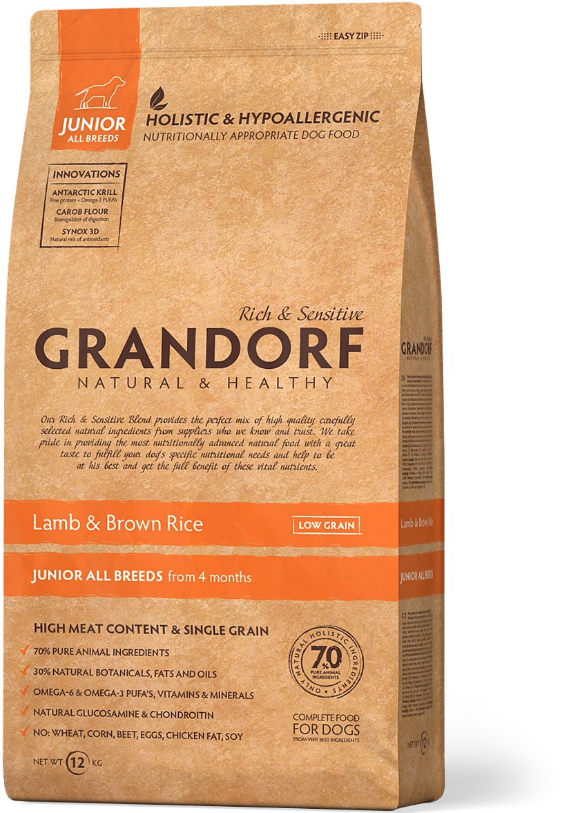 Сухий корм Grandorf Sensitive Care Holistic Lamb & Brown Rice Junior (для цуценят з ягням і рисом) 1кг