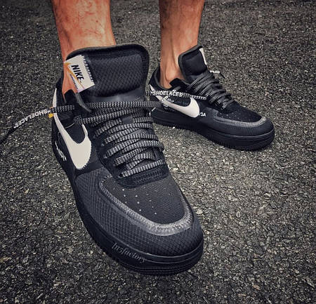 Кроссовки Nike x Off-White Air Force 1 Low Black - купить по лучшей ... 7e2fe3bad6e4f
