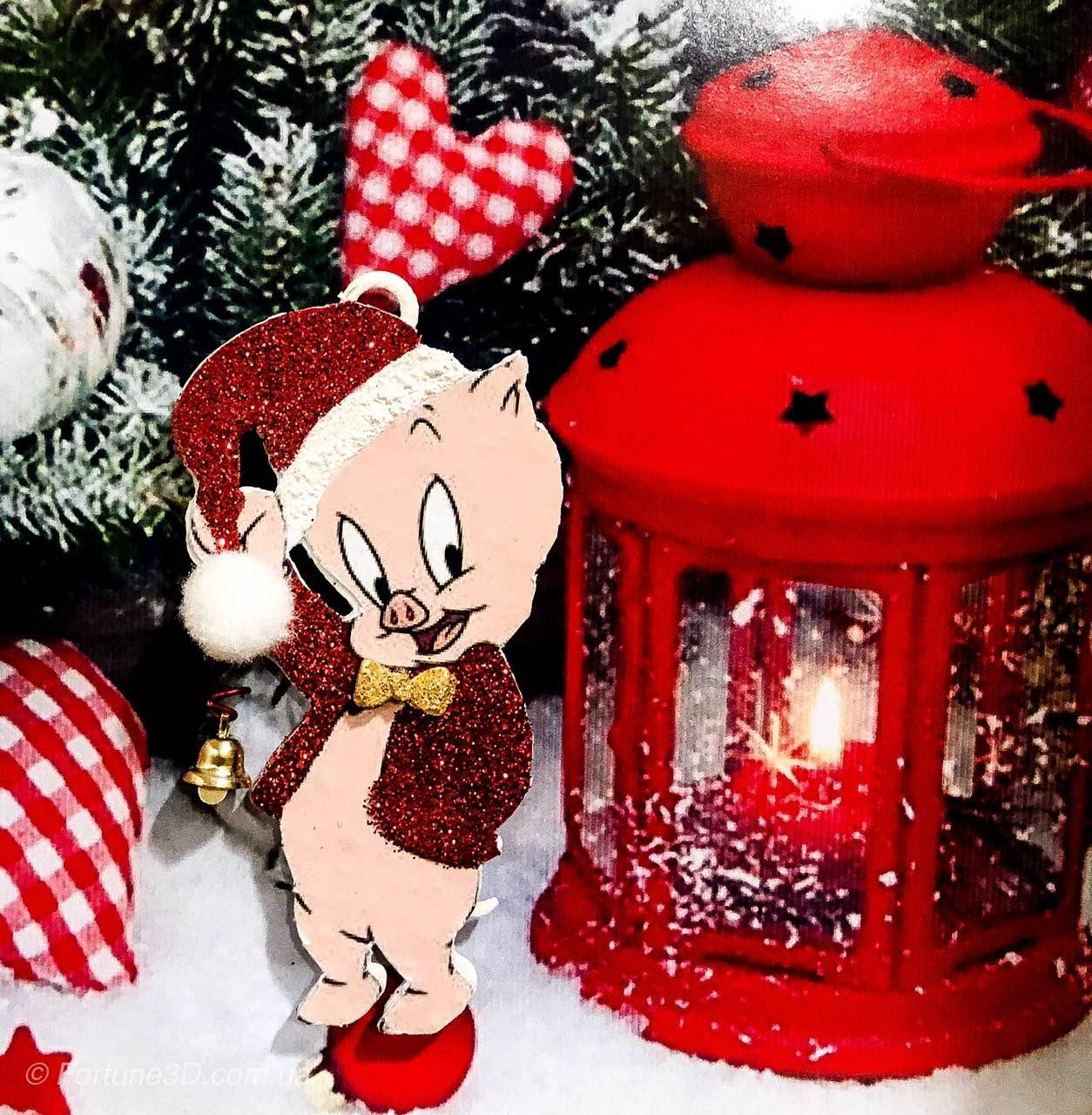 Игрушка на елку , символ 2019 года - Свинка с колокольчиком. Porky Pig на ёлку