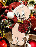 Игрушка на елку , символ 2019 года - Свинка с колокольчиком. Porky Pig на ёлку, фото 4