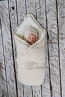"""Зимний вязаный набор для новорожденного """"Дует"""" на махре, бежевого цвета, фото 1"""