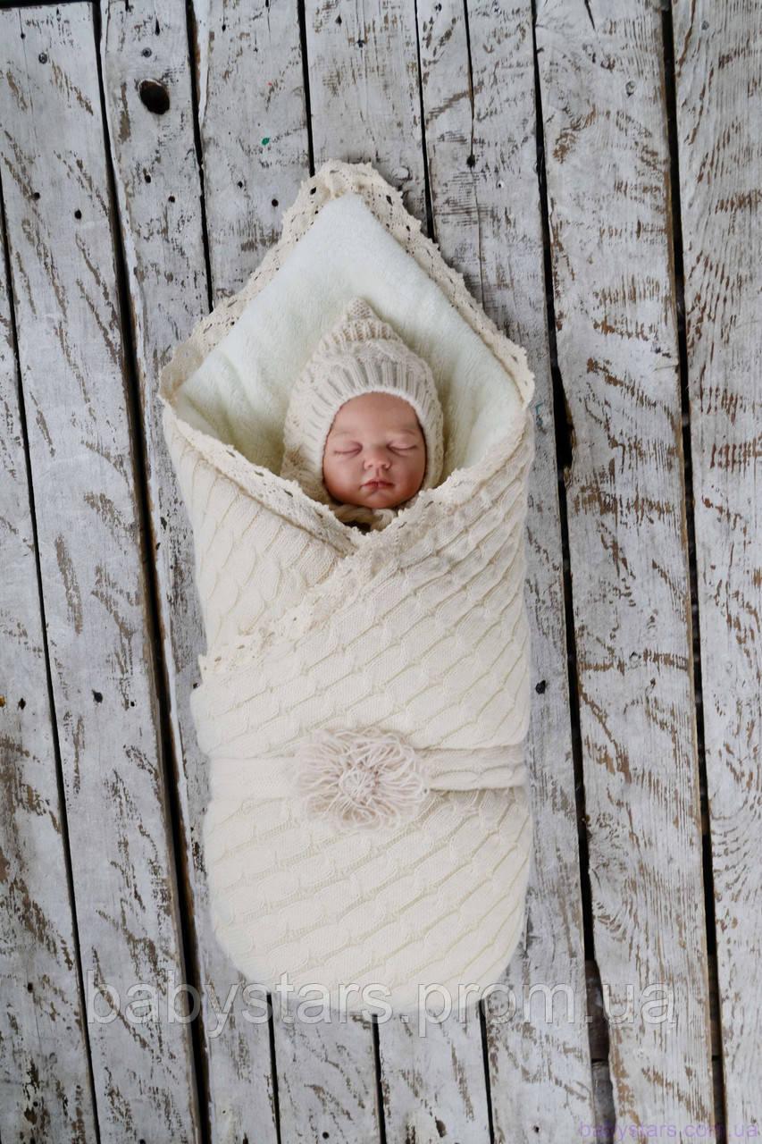 """Зимний вязаный набор для новорожденного """"Дует"""" на махре, бежевого цвета"""