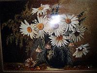 Картина из янтаря. Панно Ромашки.