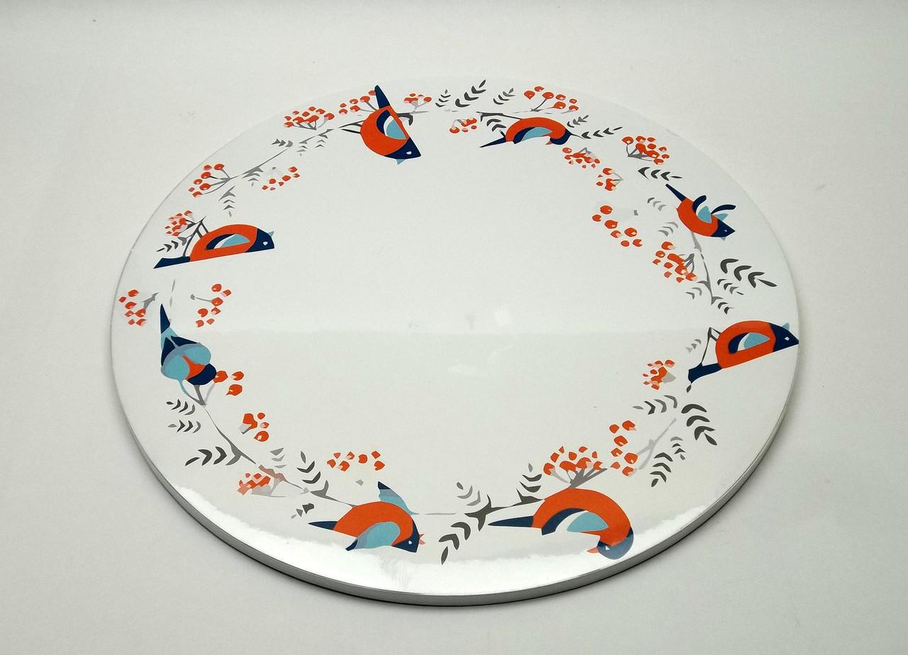 Подложка для торта d 30 см h 0,7 см с птицами