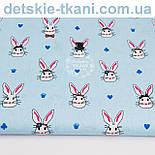 Лоскут ткани с кроликами в цилиндрах на голубом фоне, № 1009, фото 2