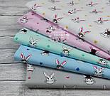 Лоскут ткани с кроликами в цилиндрах на голубом фоне, № 1009, фото 3