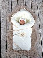 """Зимний вязаный набор для новорожденного """"Дует"""" на махре, молочного цвета, фото 1"""