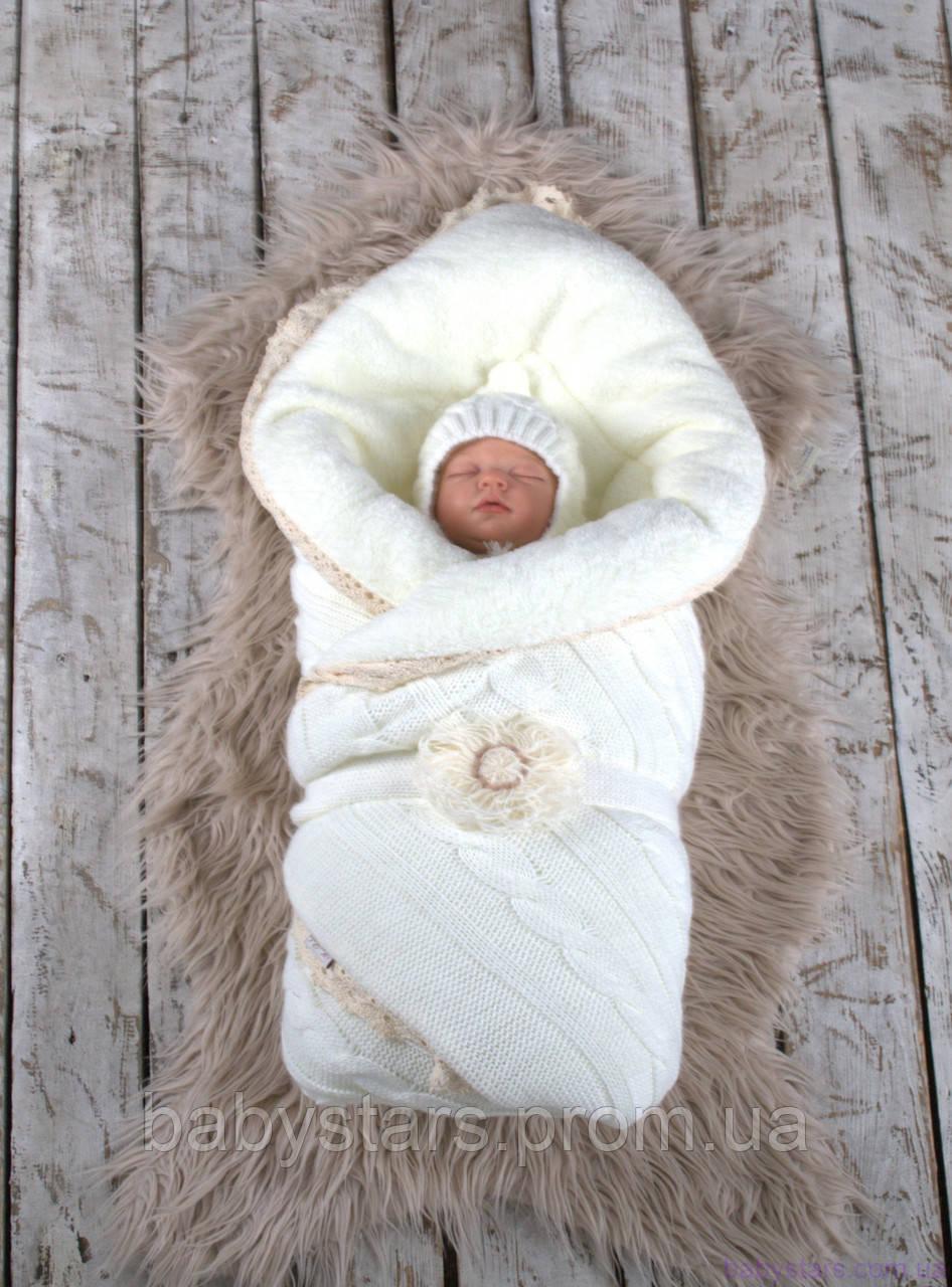 """Зимний вязаный набор для новорожденного """"Дует"""" на махре, молочного цвета"""