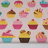 """Отрез ткани """"Кексы на кремовом фоне"""" № 1298а, размер 75*160, фото 2"""