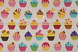 """Отрез ткани """"Кексы на кремовом фоне"""" № 1298а, размер 75*160, фото 5"""