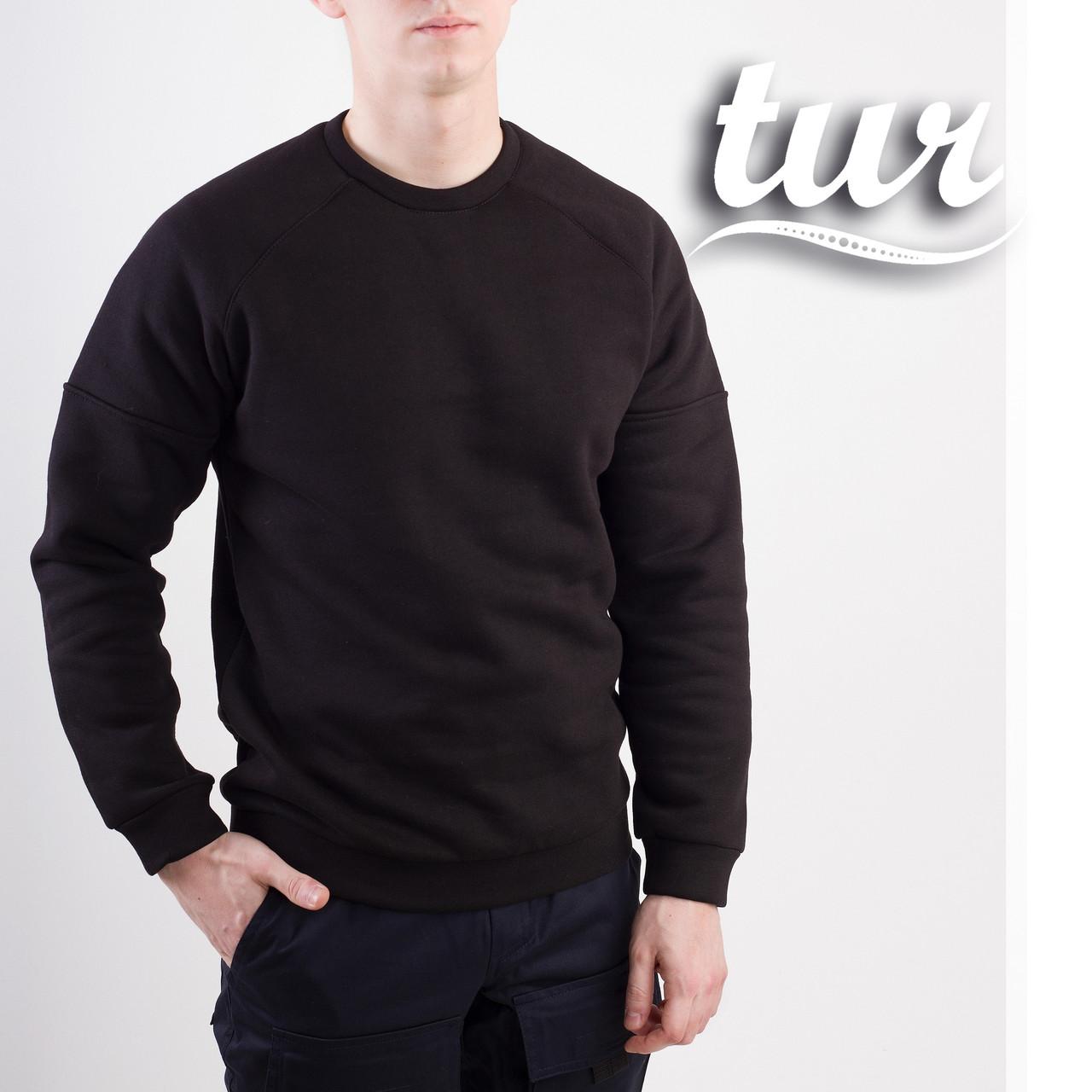 Зимний свитшот реглан мужской чёрный от бренда ТУР Сектор (Sector) размер S, M, L, XL